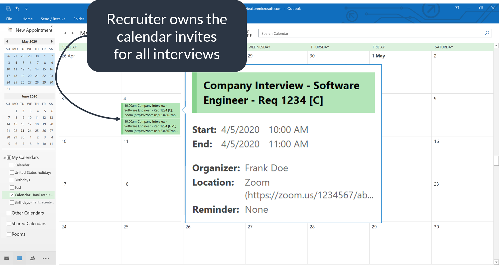Recruiter calendar zoom interview